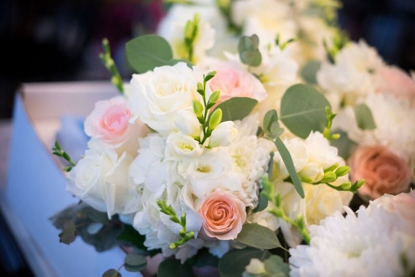Hydrangeas, roses, freesia