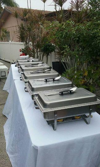 backyard hot buffet table