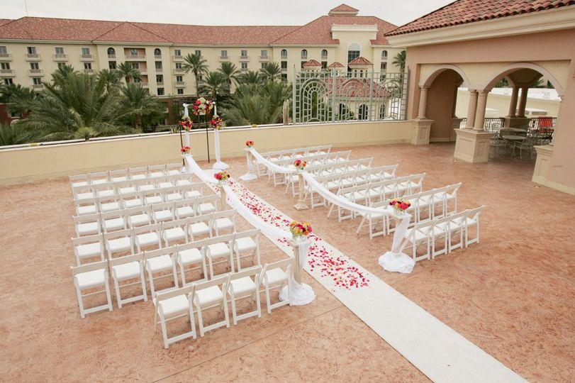 Valencia Terrace, a beautiful rooftop venue adjacent to the Valencia Ballroom. Views are to the west...