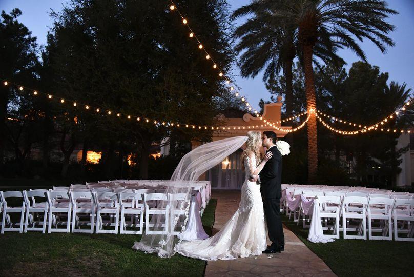 Romantic Evening Wedding Ceremony at the Garden Gazebo