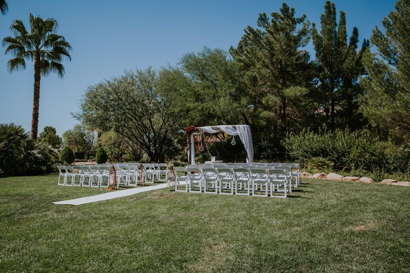 Outdoor Garden Wedding Ceremony set by the Lodge at the Lawn. Adjacent to the ceremony site sits the...