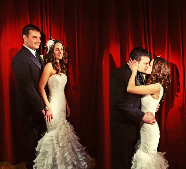 Awesome Red curtain...check.  Two minutes of free time...check.  Fabulous shot of Bride &...