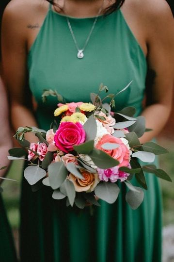 Bridesmaid bouquet with hydrangea, roses, minicarnations and button mums | Photo by  Erica Berry...