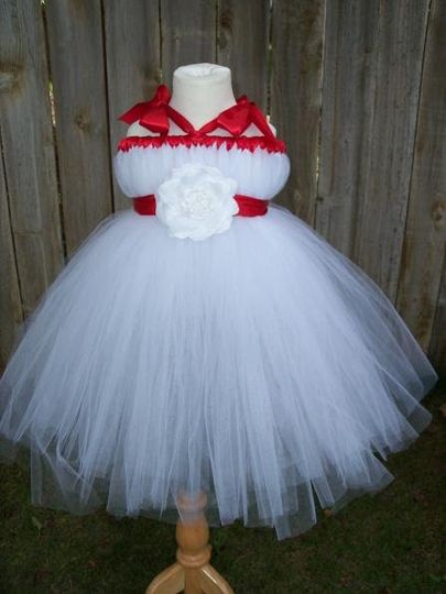 Custom design empire waist tutu dress. Created with white soft tulle, red satin ribbon and white...