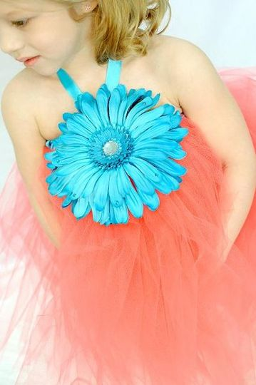 Fun flower tutu dress! Large embelished flowers available in black, white, red, yellow, orange,...