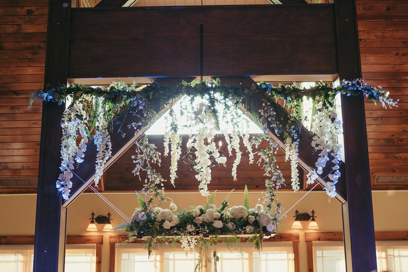 Overhead floral decorations