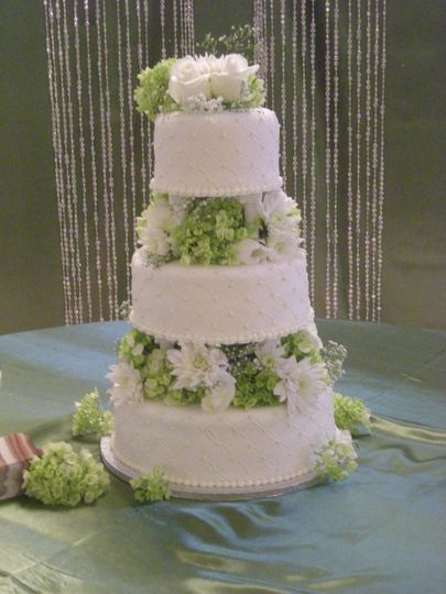 Elegant floral design three-tier cake