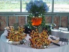 we make wondeful fruit kabobs as well as a tall pineapple fruit tree for weddings!