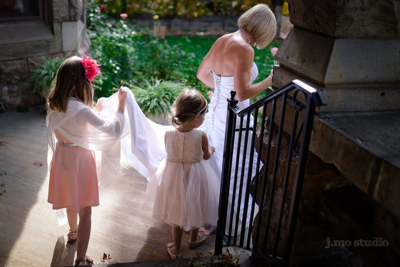 Bride and little children