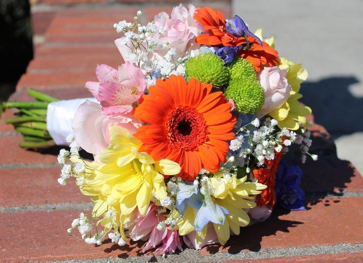 Bridal bouquet with orange gerbera