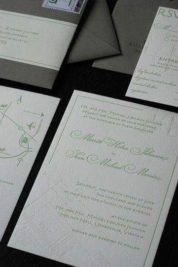 custom letterpress invite suite