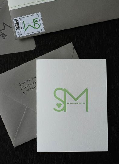 custom letterpress thank you card and logo