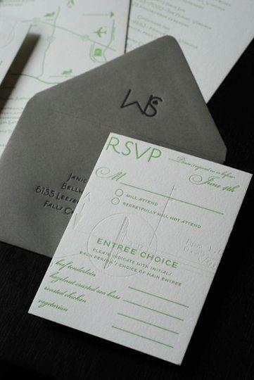custom letterpressed rsvp and envelope