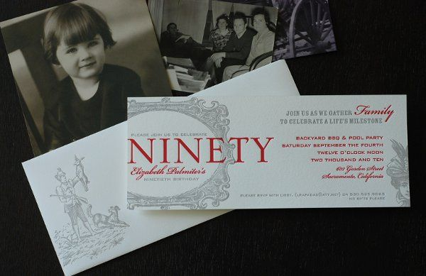 custom letterpressed 90th birthday invite