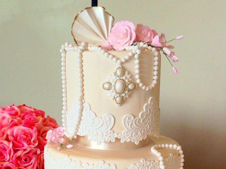 Tmx 1423856041599 Shabby Chic Lace Pearls Wedding Cake5314293129813 Huntington Beach, California wedding cake