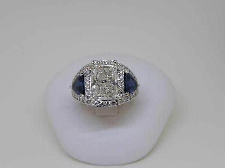 Tmx 1509037530776 Krauss Macy Plat 5.16ct Radiant Dia Saph Trill Eng Albany wedding jewelry