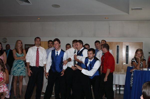 The guys getting ready for the garter toss.