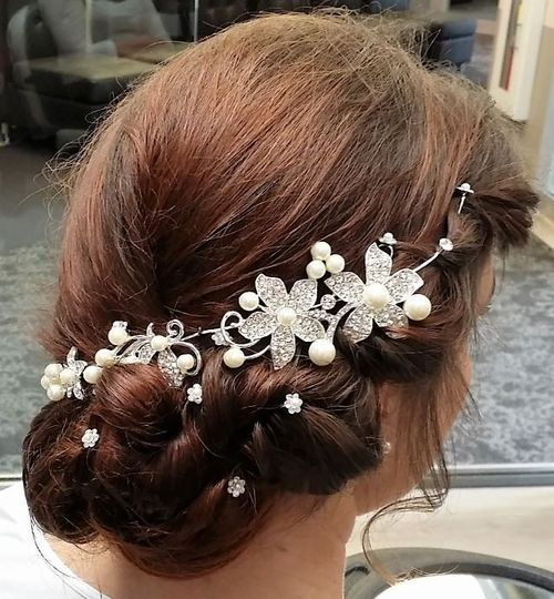 side view of updo with accessories