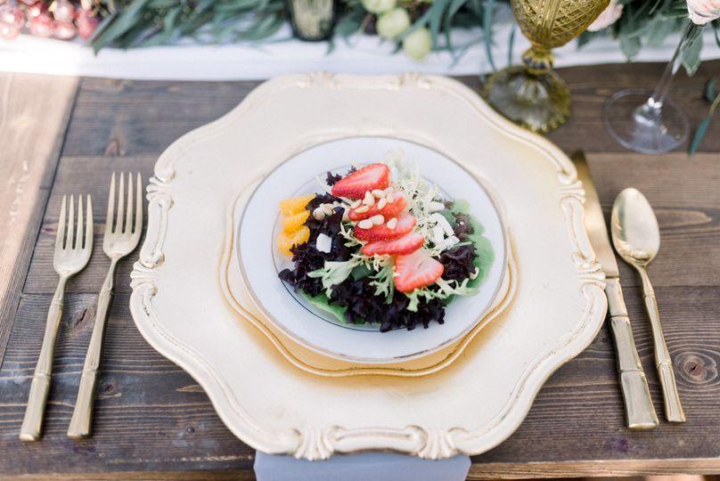 Table setting and salad
