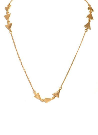 etched triangles necklace gold