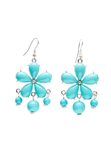 floral teal statement earrings