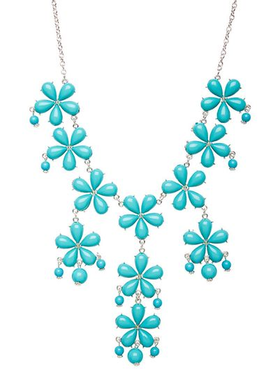 floral teal statement necklace