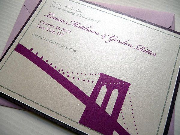 Brooklyn Bridge Save the Date Cards ~ Available at http://www.etsy.com/shop/PrettyStationeryShop