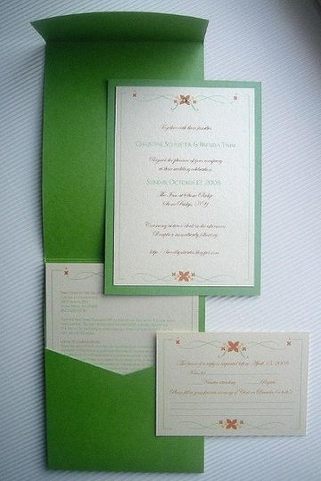 Simple Flourish Wedding Invitations ~ Available at http://www.etsy.com/shop/PrettyStationeryShop