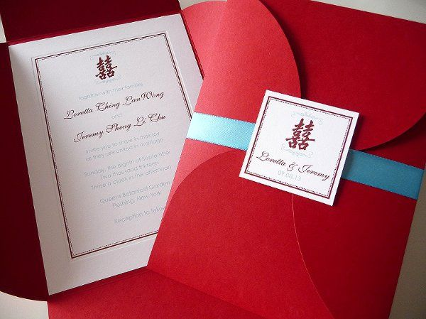 Double Happiness Petal Fold Wedding Invitations ~ Available at...