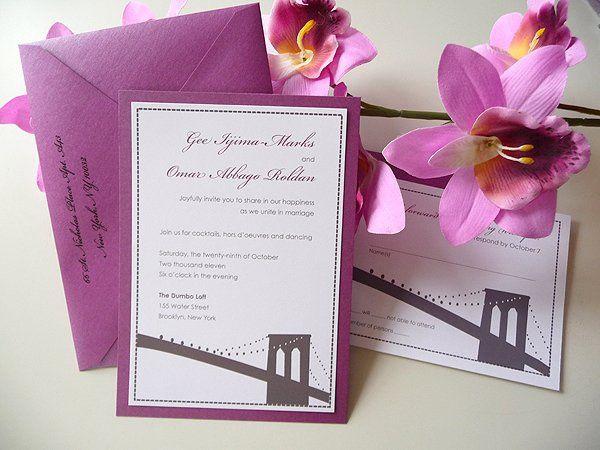 Brooklyn Bridge Wedding Invitations ~ Available at http://www.etsy.com/shop/PrettyStationeryShop