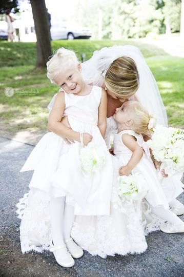 Bride and kids at the wedding