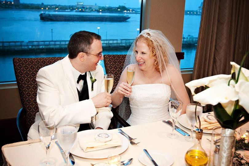 Couple's champagne toast