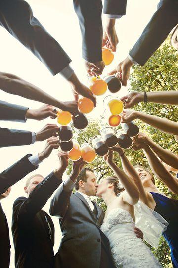 wedding party photo craft beer