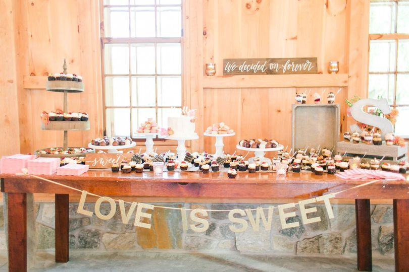 pond view wedding dessert display megan kelsey pho