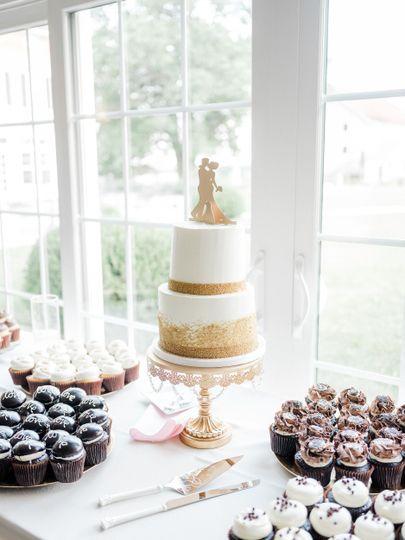 2 tier white gold wedding cake