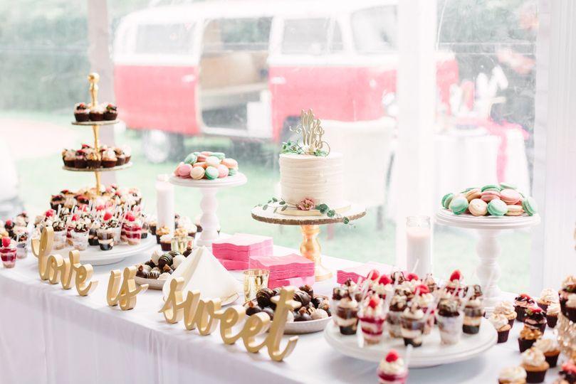 wedding dessert display lauren myers photography 5 51 365394
