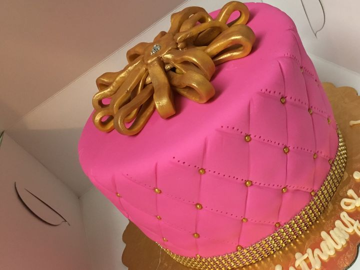 Pink cake with gold top