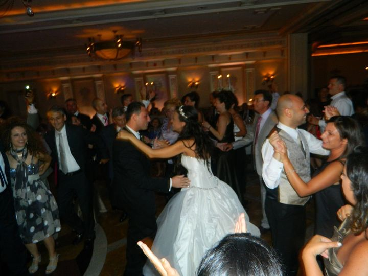Dancing couple and bride