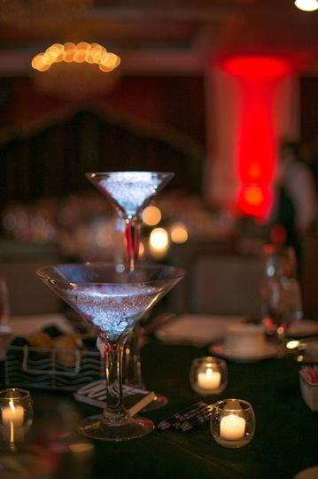 martini glass duo close up