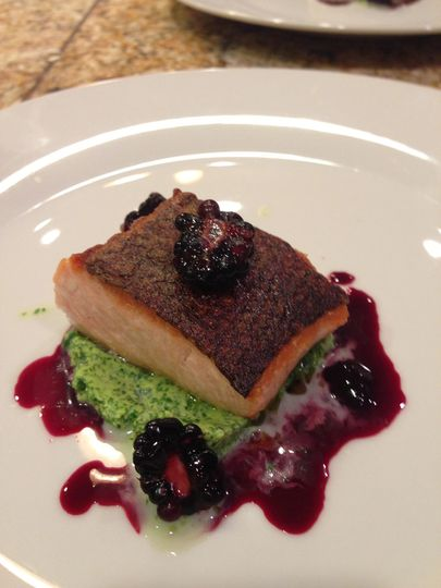Crispy-skin Salmon with pickled blackberries and watercress puree