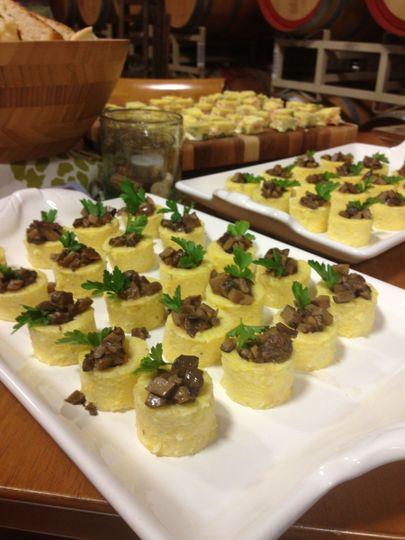 Polenta Bites with Mushroom Ragu