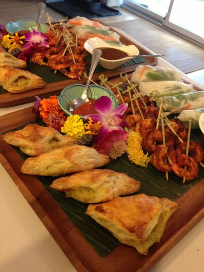 Tropical themed appetizers