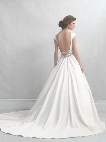 Backless, flowy wedding dress