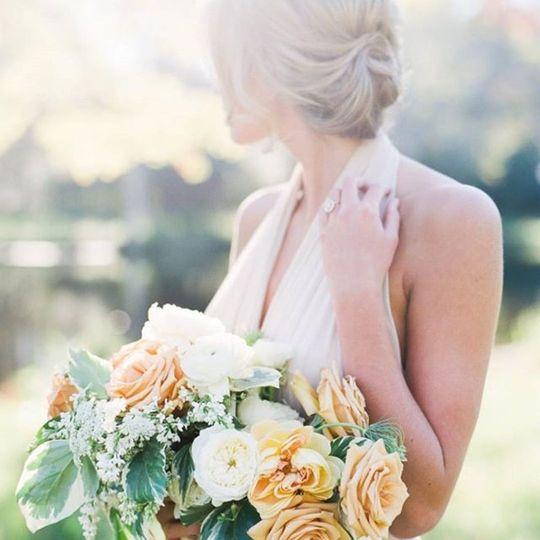 Bride looking back