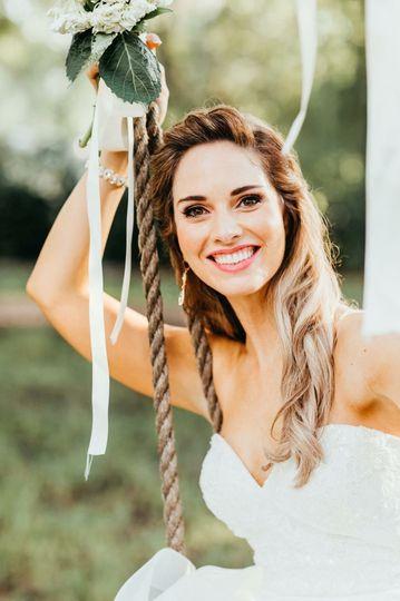 Bride riding swing