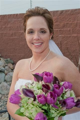 A beautiful bride on her wedding day.  We featured a dramatic eye and nude lip on her.