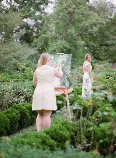 As featured on Style Me Pretty, Washington, DC live wedding painter Brittany Branson at Tudor Place...