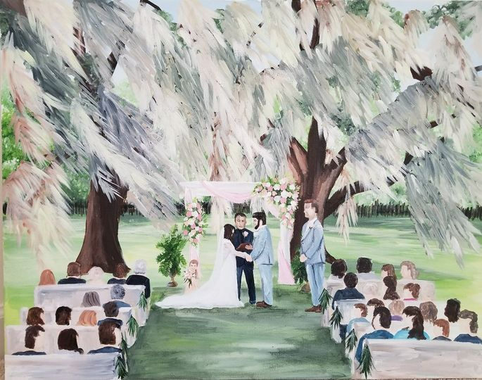 Ceremony live wedding painting