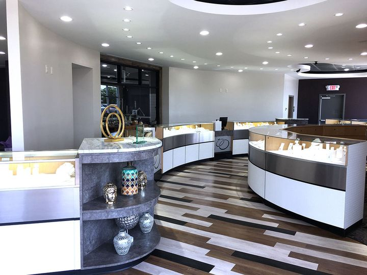 Newly designed showroom at Andrews Jewelers.