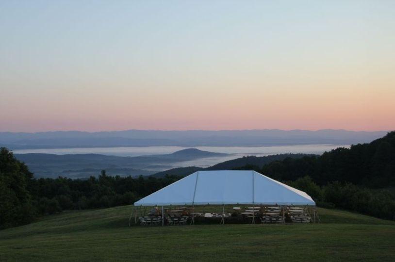 Tent setup outdoors